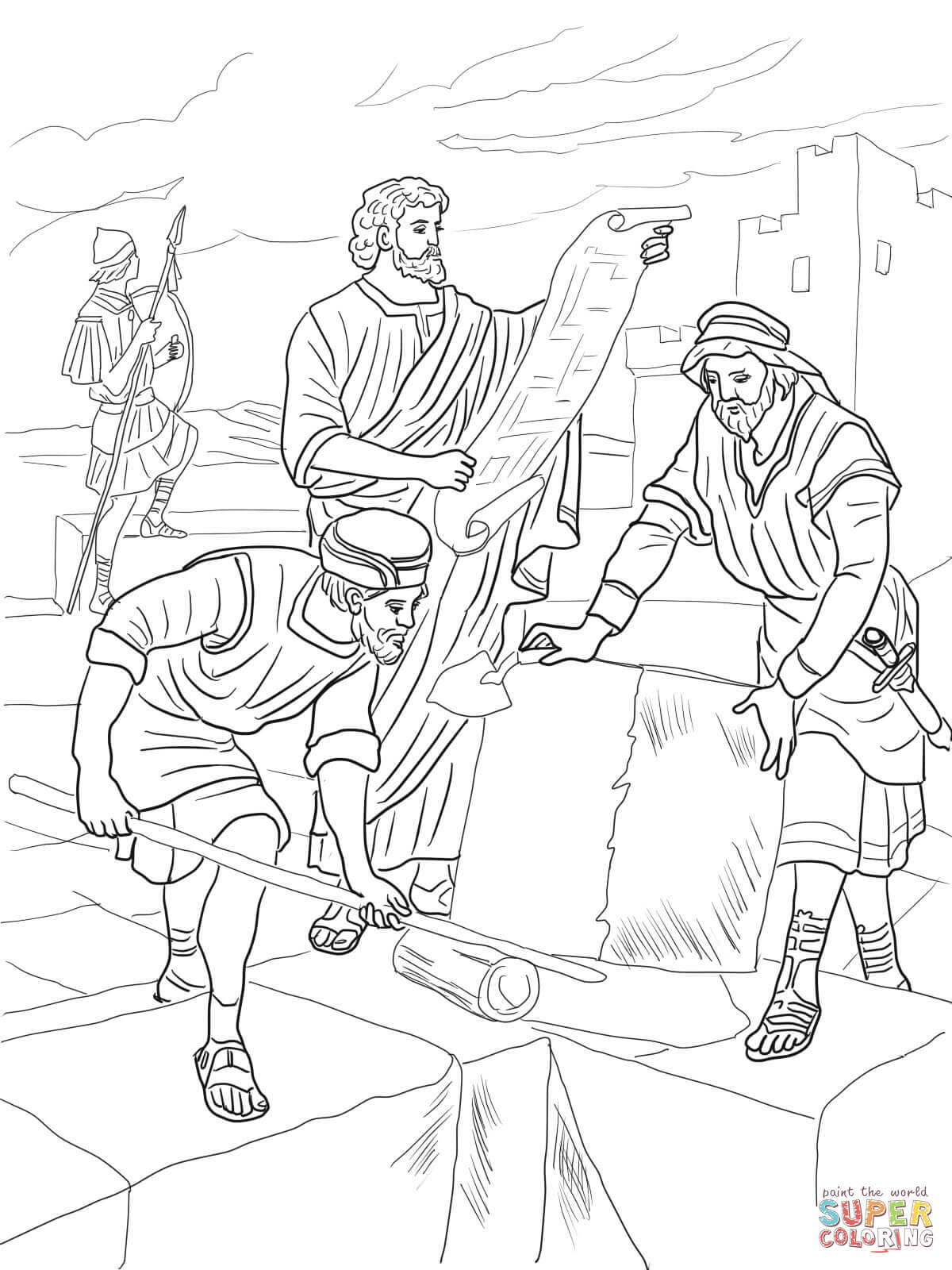 Click the nehemiah rebuilding the walls of jerusalem coloring pages