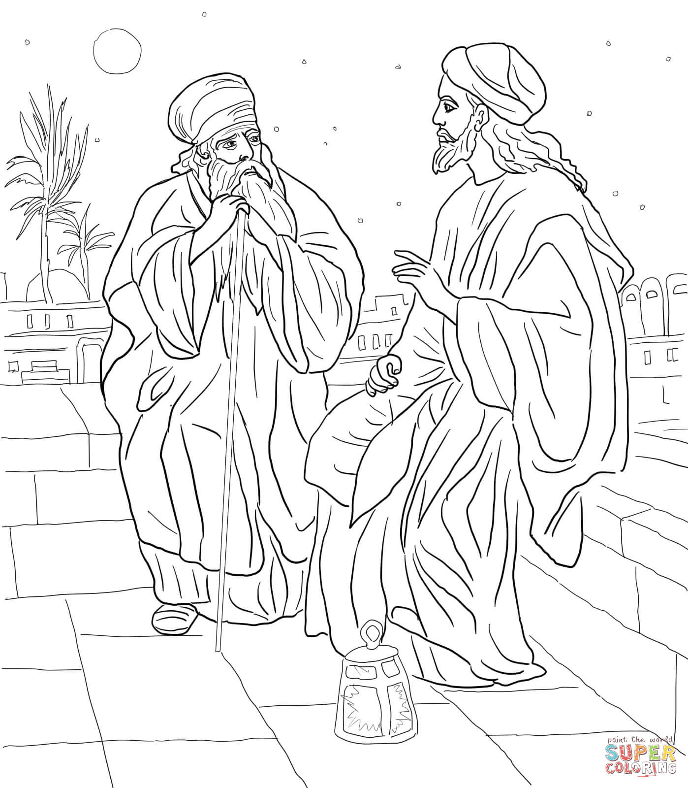 Click the jesus and nicodemus coloring pages