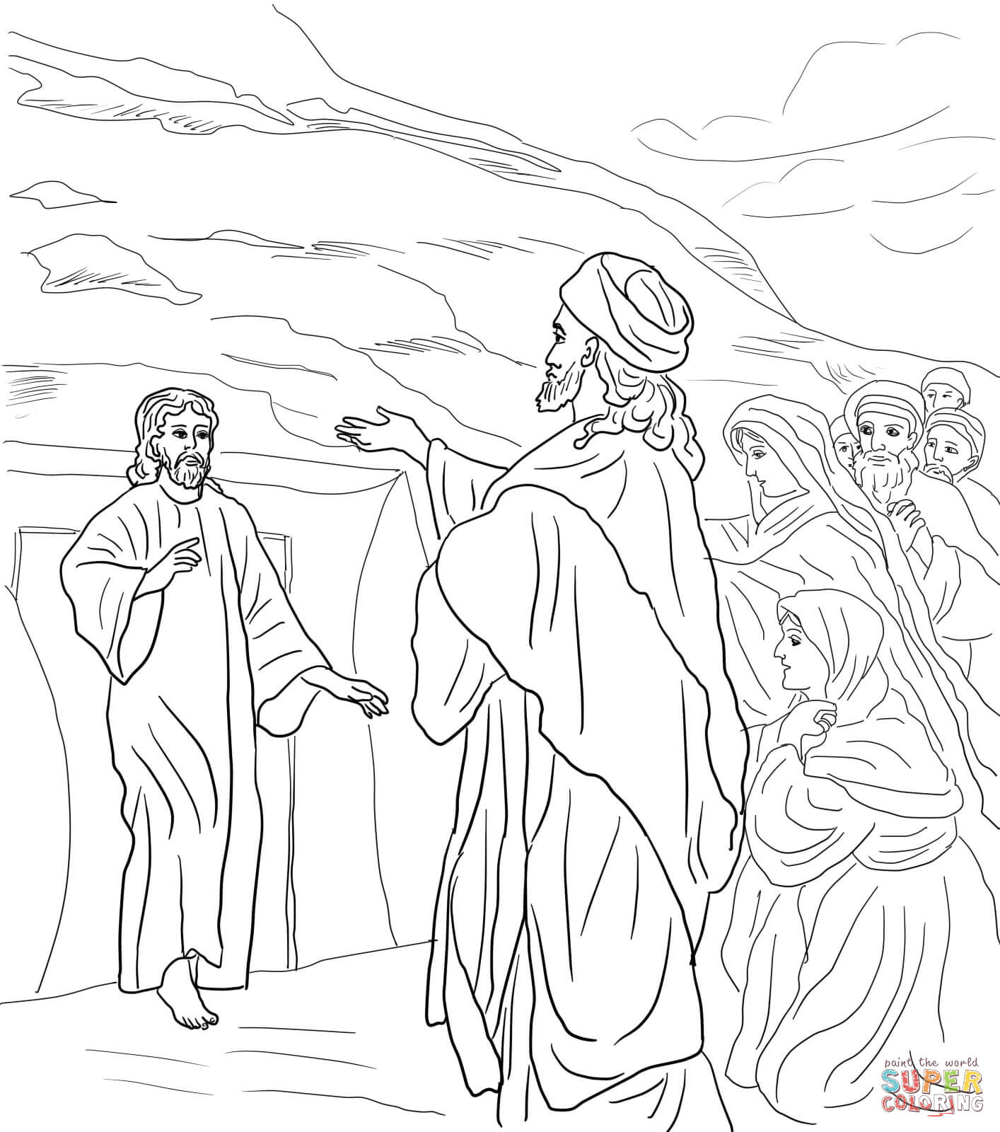 Click the jesus raises lazarus from the dead coloring pages