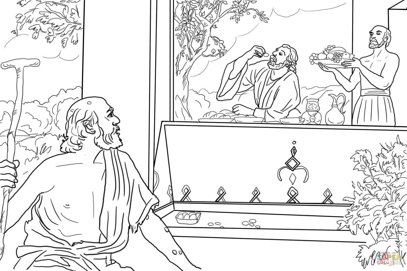 Click the rich man and lazarus coloring pages