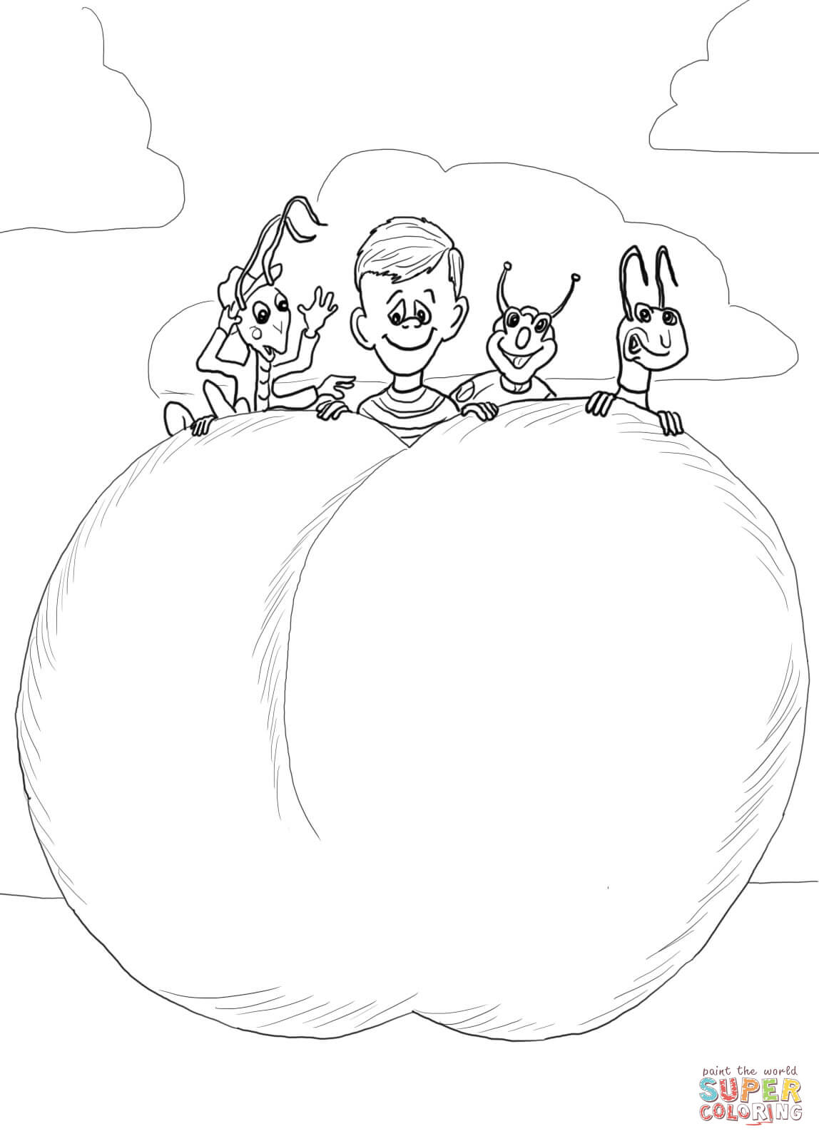 James And The Giant Peach Characters Coloring Page Free