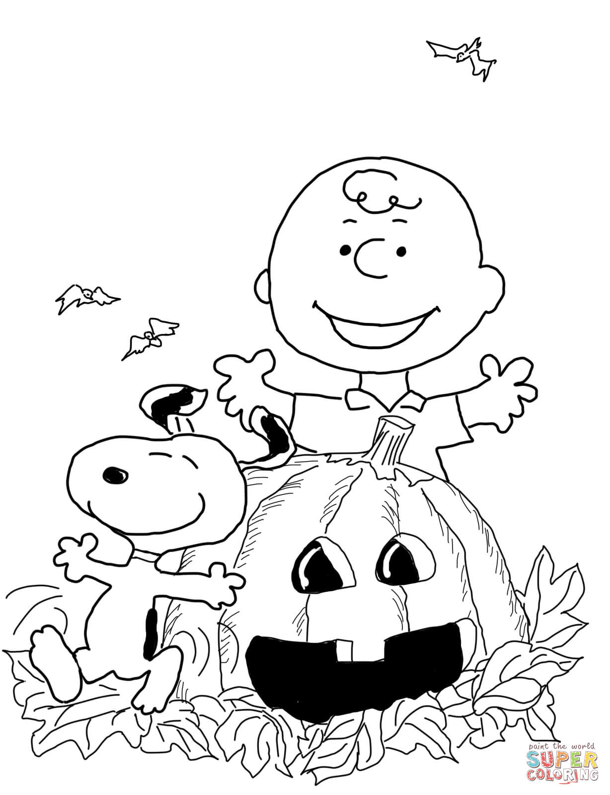 Click the charlie brown halloween coloring