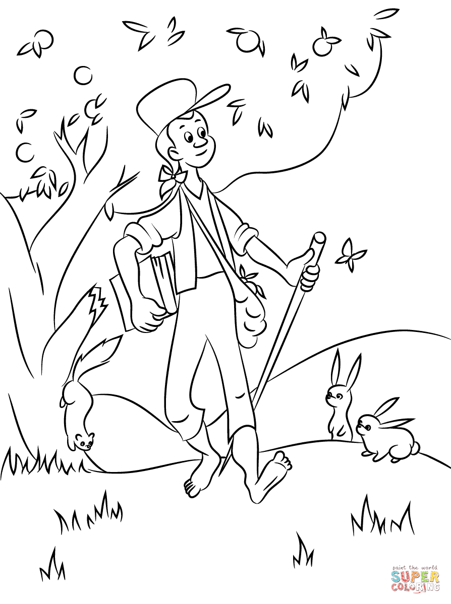 Click the johnny appleseed with animals coloring pages