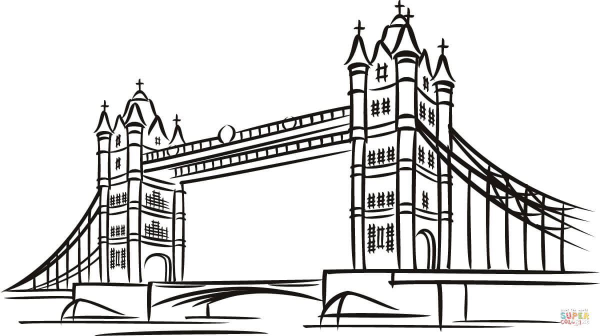 Click the tower bridge in london coloring pages to view printable version or color it online compatible with ipad and android tablets