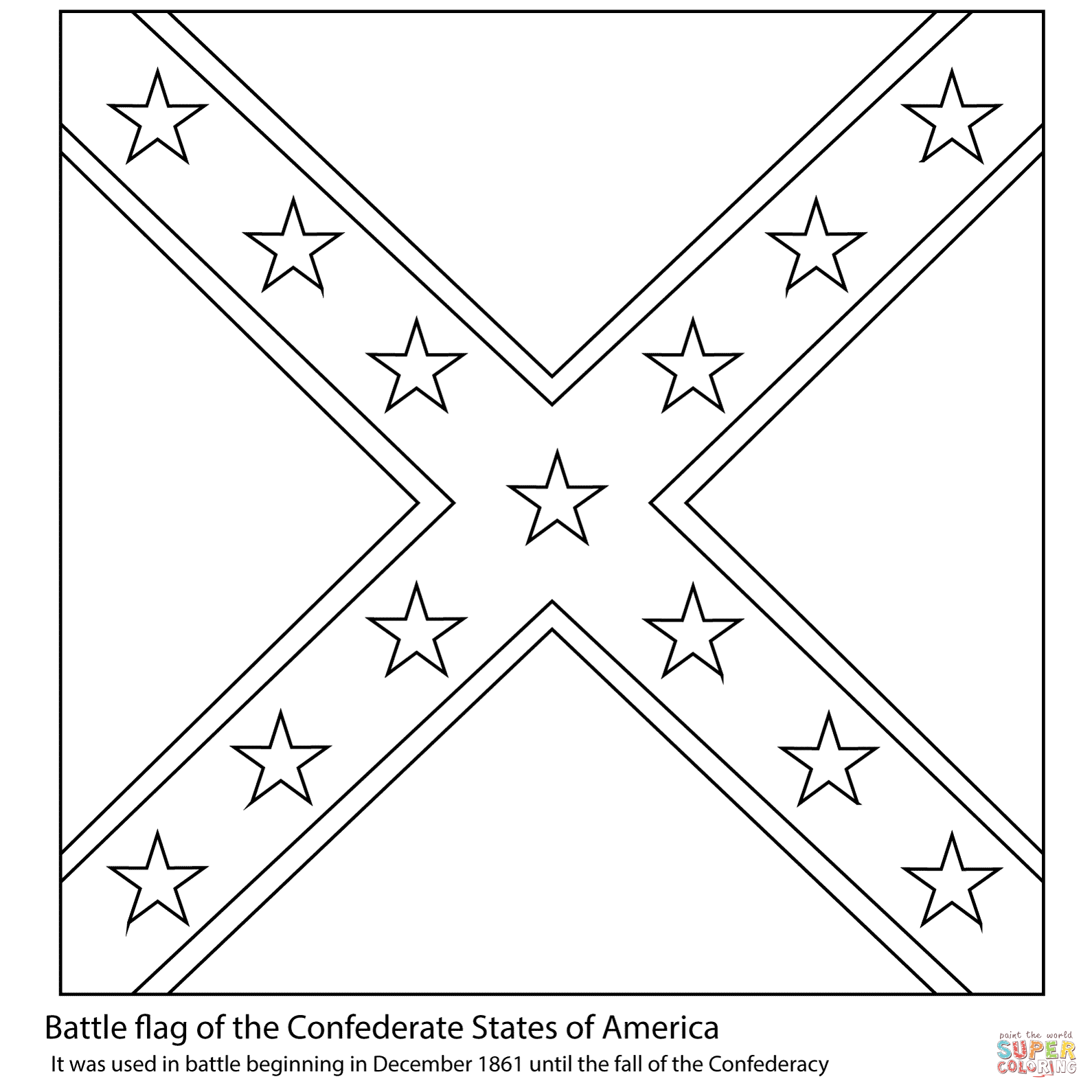 Memorial day flag coloring pages - Battle Flag Of The Confederate States Of America Download Free Coloring Pages