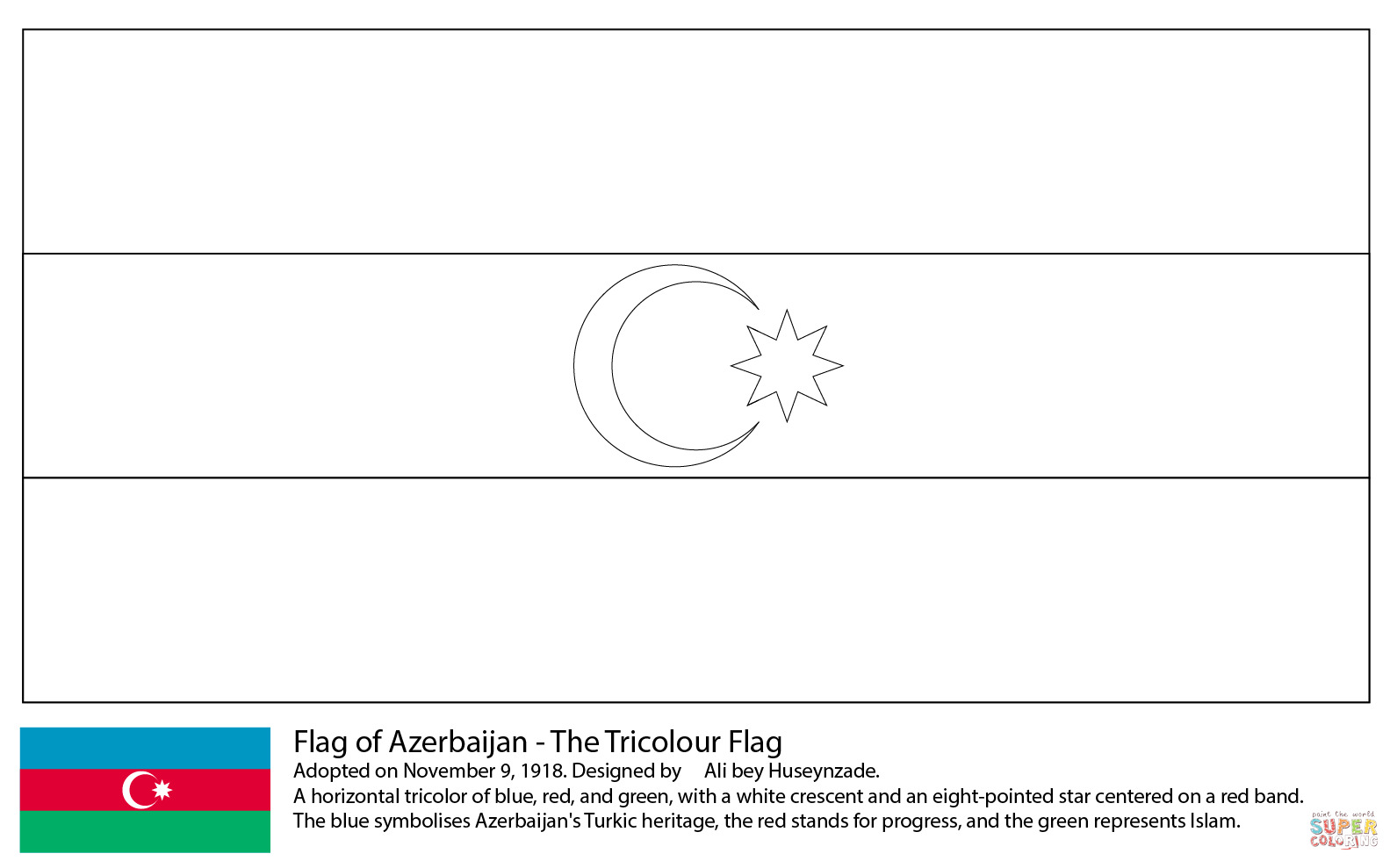 Click the flag of azerbaijan coloring pages to view printable