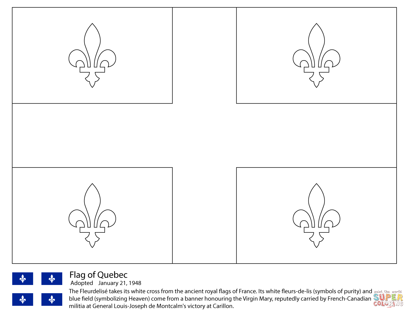 Click the flag of quebec coloring pages to view printable version or color it online compatible with ipad and android tablets