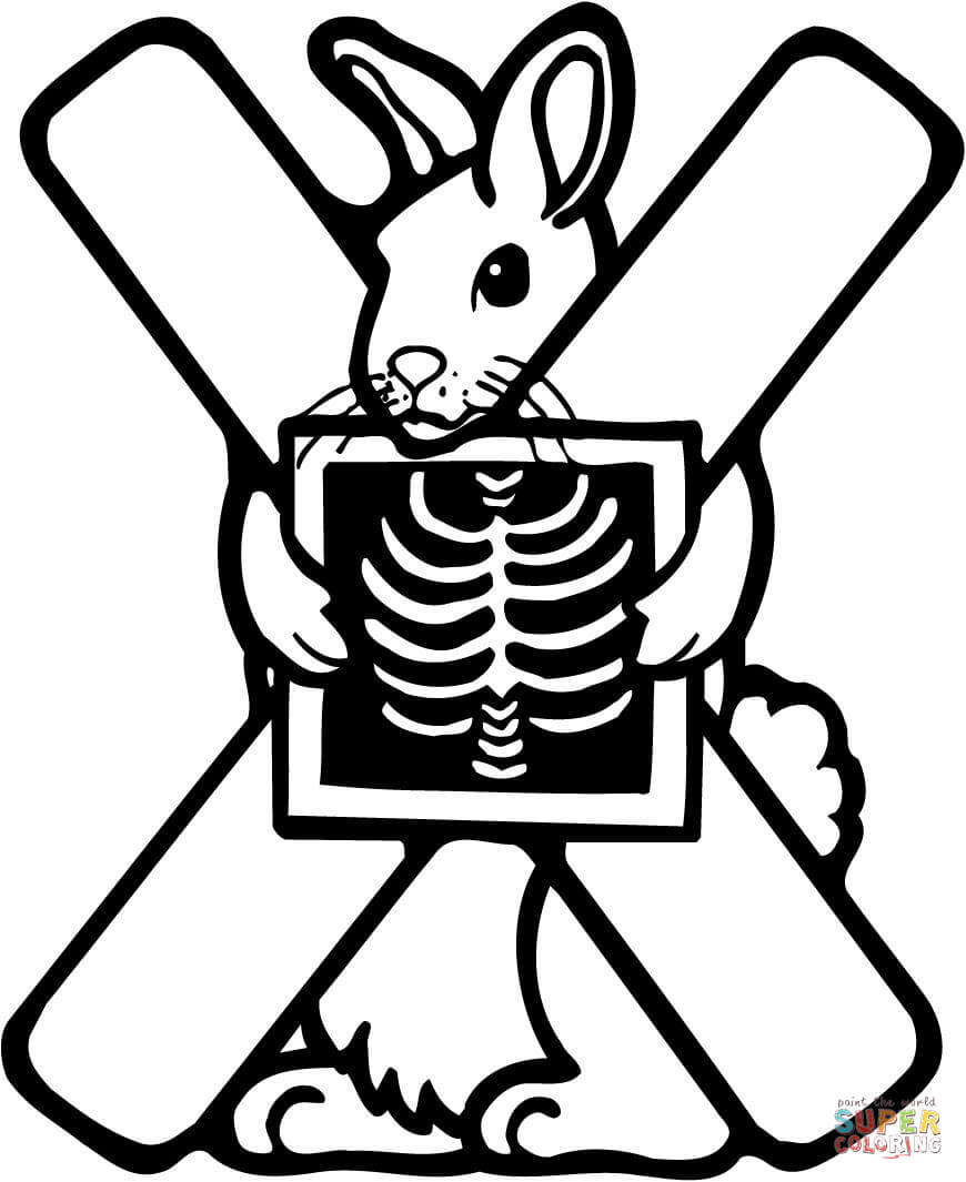 Click the letter x is for x ray coloring pages