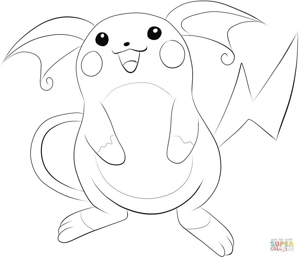 Click the raichu coloring pages to view printable version or color it online compatible with ipad and android tablets