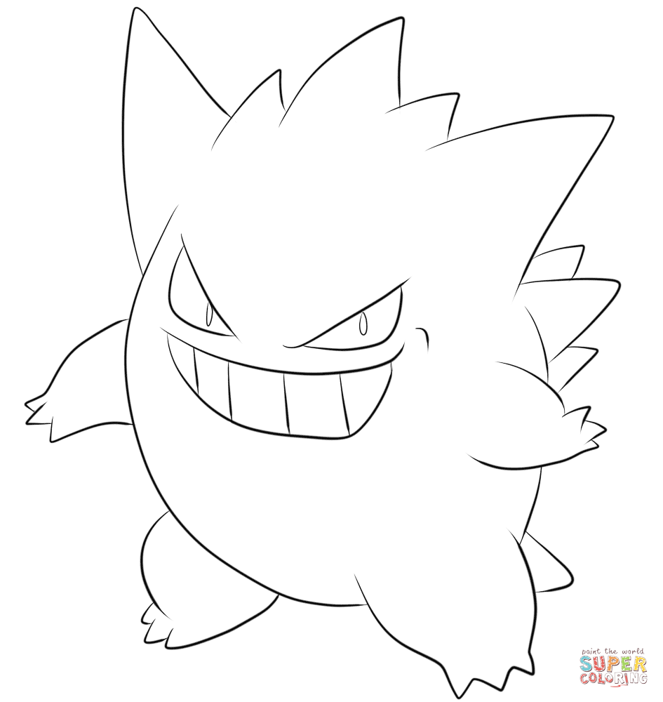 Click the gengar coloring pages to view printable version or color it online compatible with ipad and android tablets