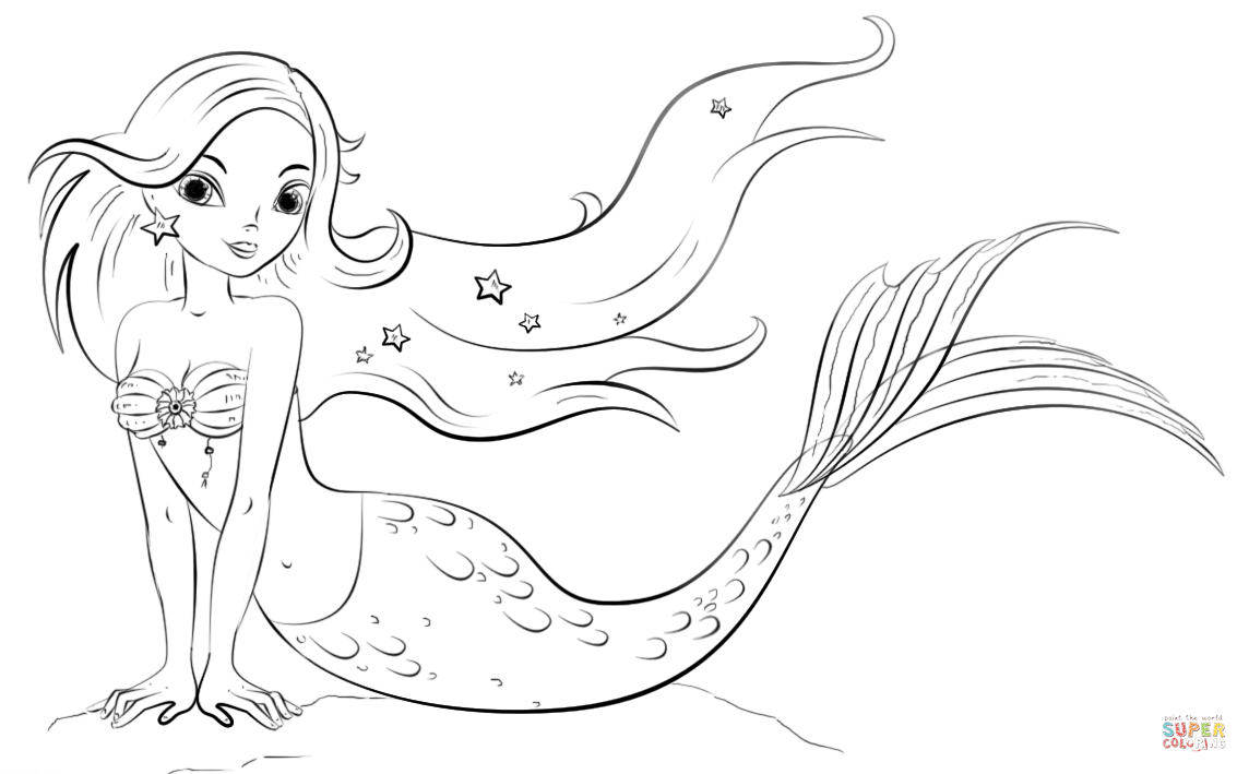 Click the mermaid coloring pages to view printable
