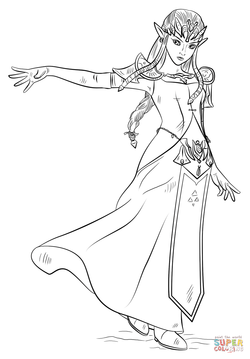 Click the princess zelda coloring pages to view printable version or color it online compatible with ipad and android tablets