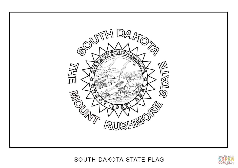 South Dakota State Flag Coloring Page - Eskayalitim