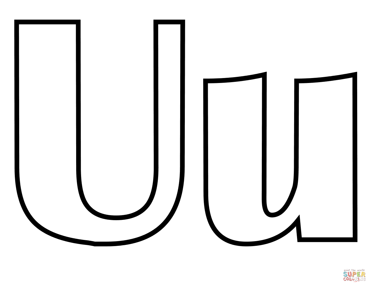 Long u coloring pages -  Coloring Pages Free Classic Letter U Download
