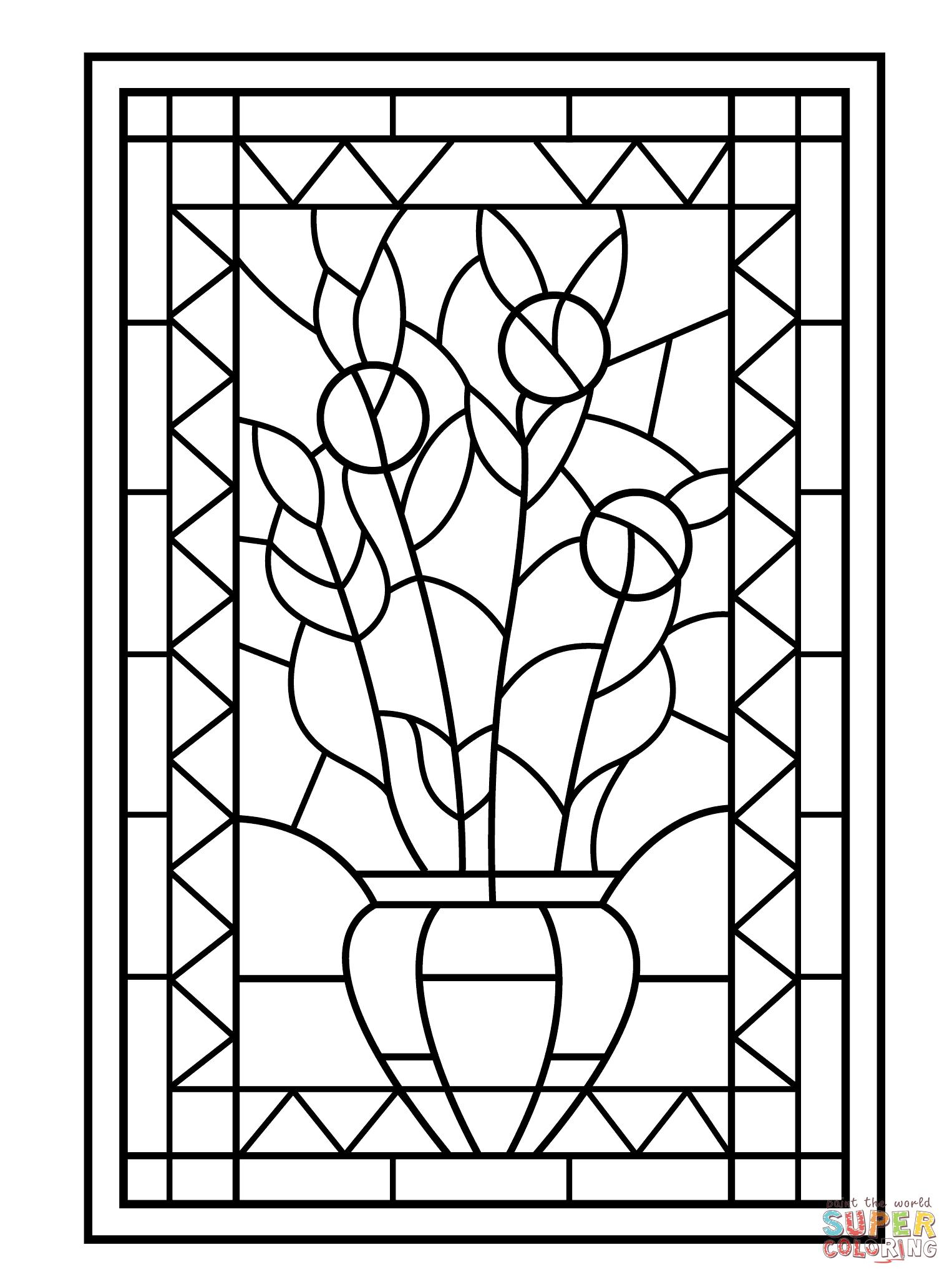 Disegno Di Vetrata Con Vaso Di Fiori Da Colorare