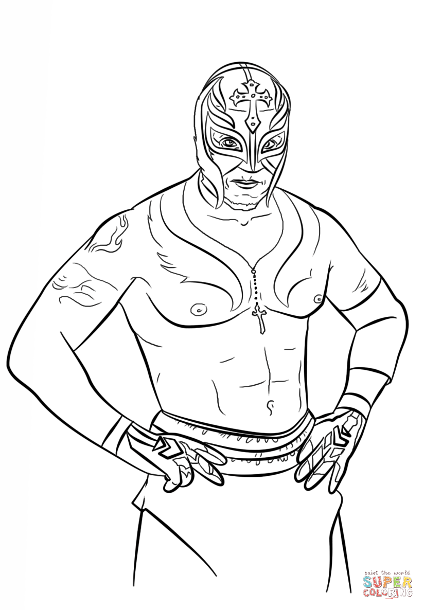 Click the rey mysterio coloring pages