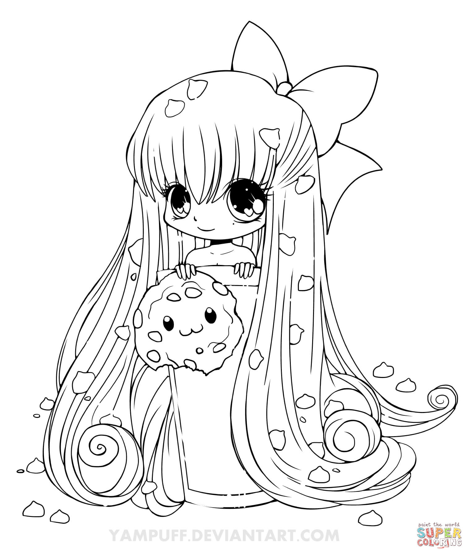 Click the chibi cookie girl coloring pages