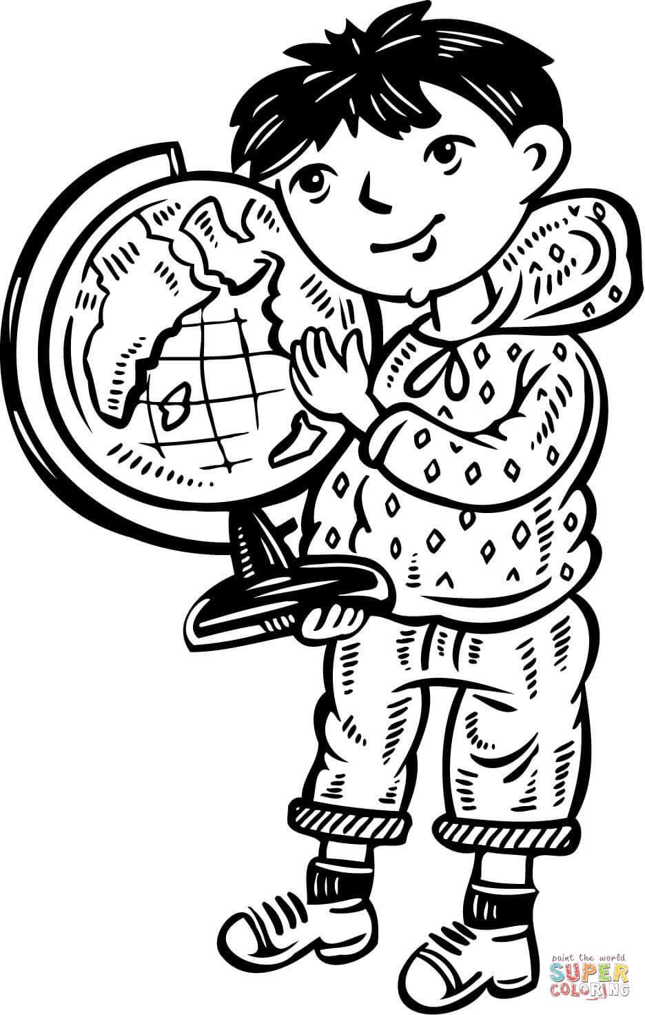 Disegno Di Bambino Con Mappamondo Da Colorare