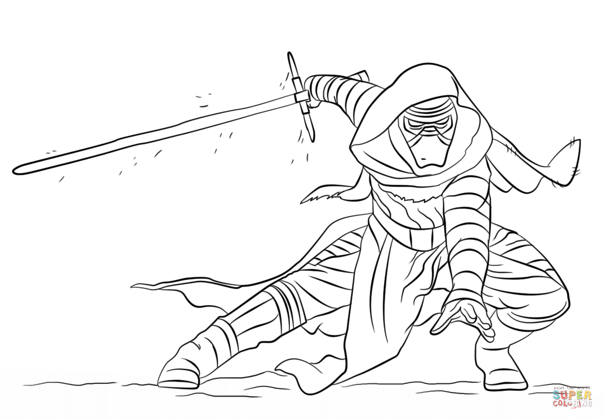 Click the kylo ren coloring pages to view printable version or color it online compatible with ipad and android tablets