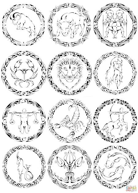 Zodiac Coloring Pages Free
