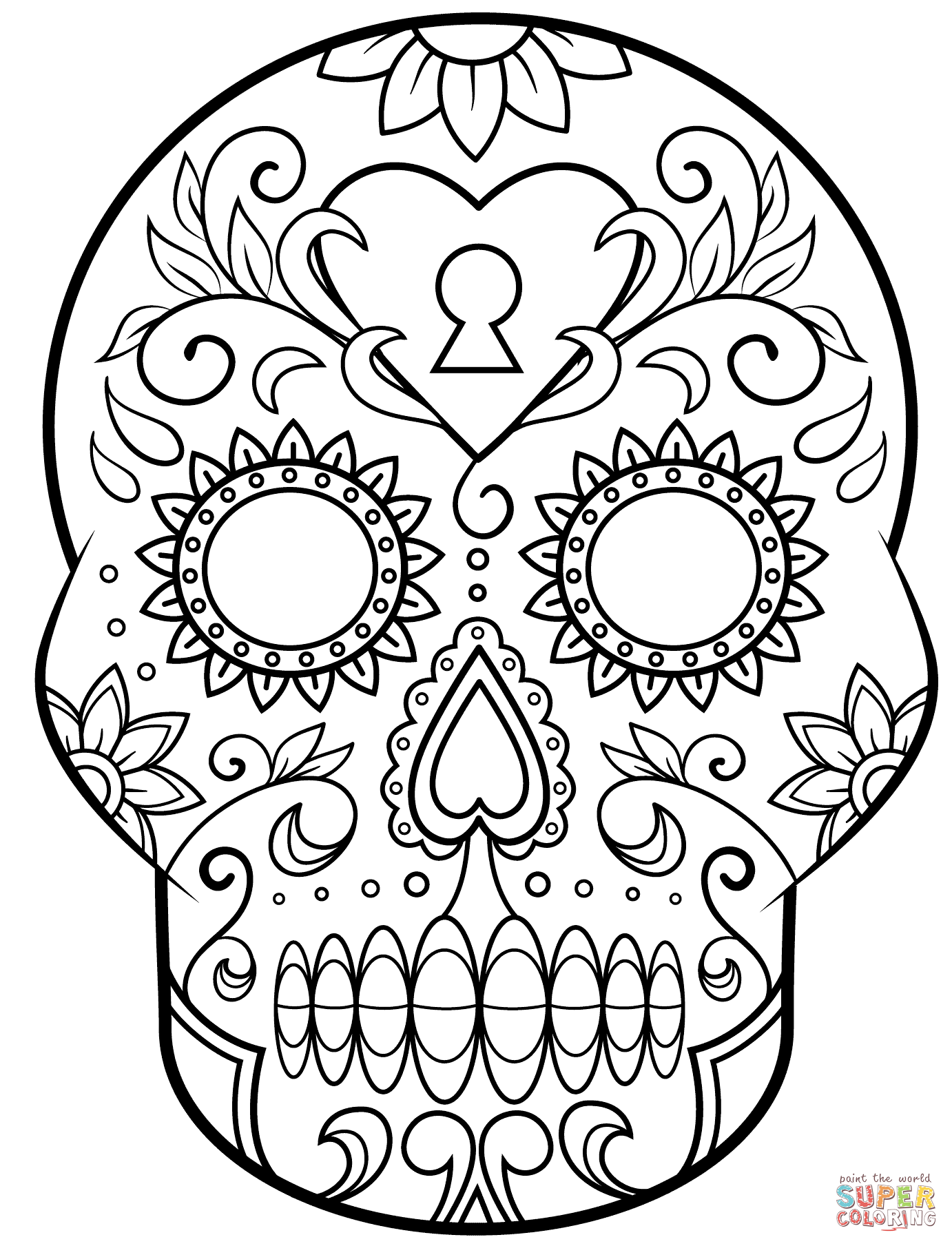 Click the day of the dead sugar skull coloring