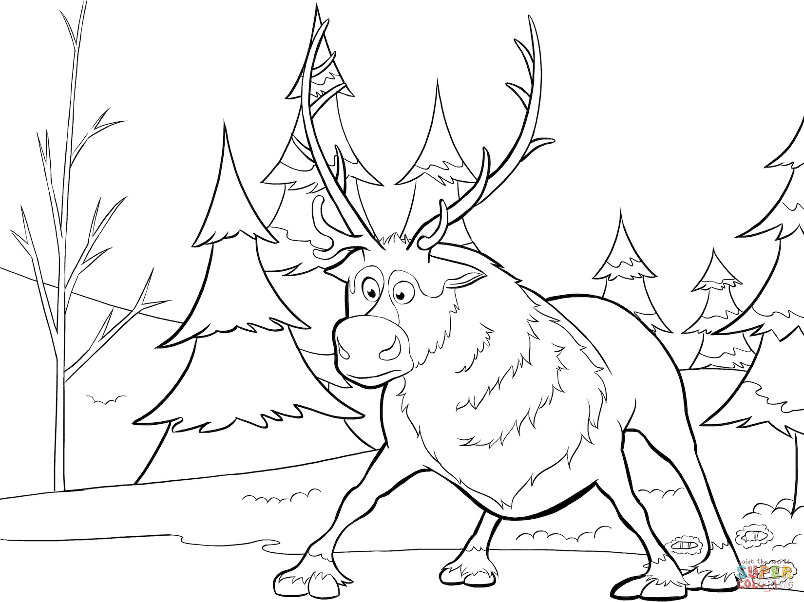 Click the sven from frozen coloring pages