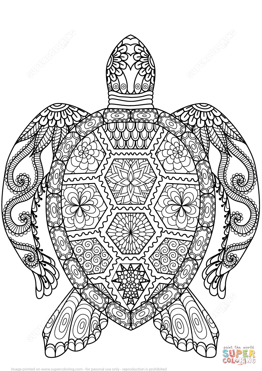 Click the turtle zentangle coloring pages to view printable
