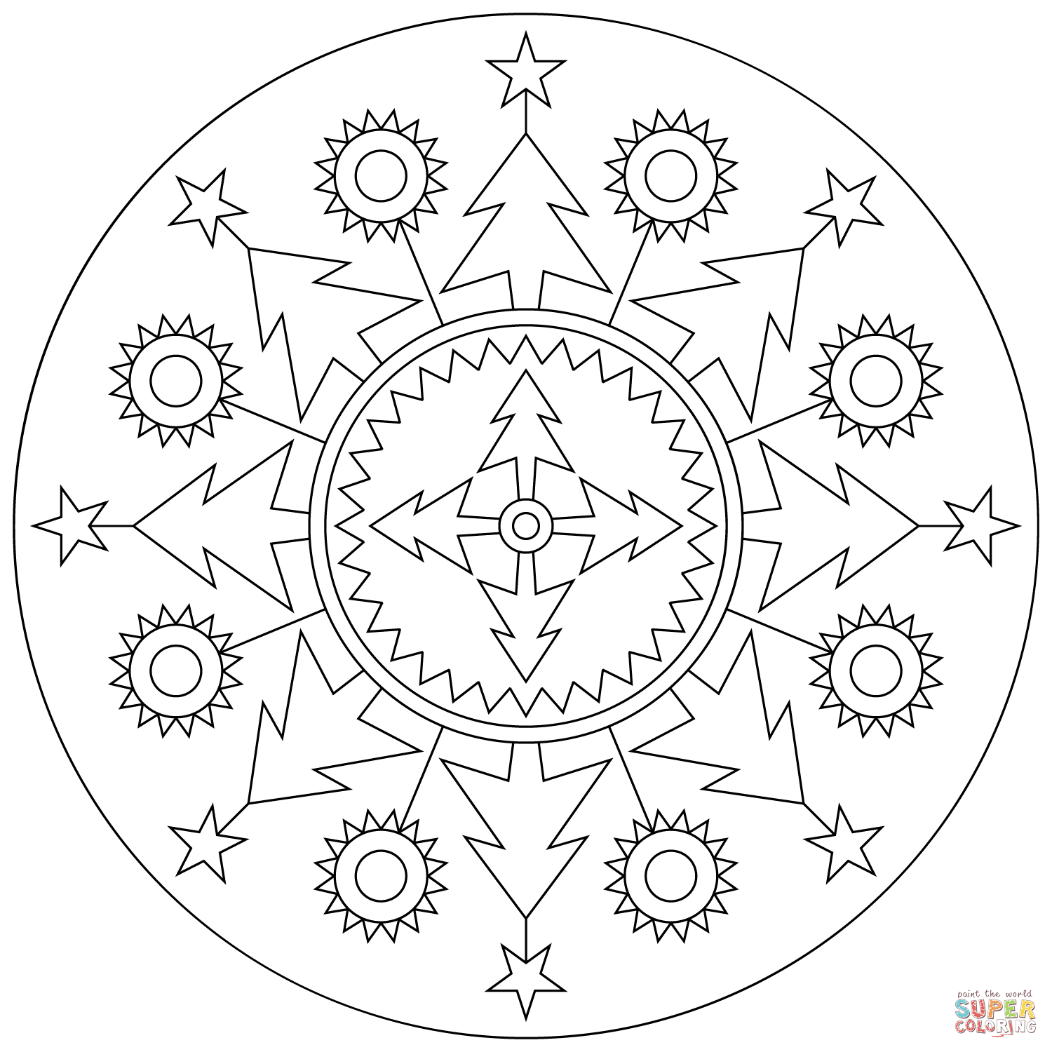 Click the christmas mandala coloring pages to view printable