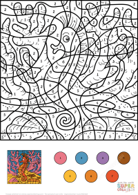 Seahorse Color by Number | Free Printable Coloring Pages
