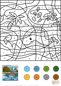 Whale Color by Number | Free Printable Coloring Pages