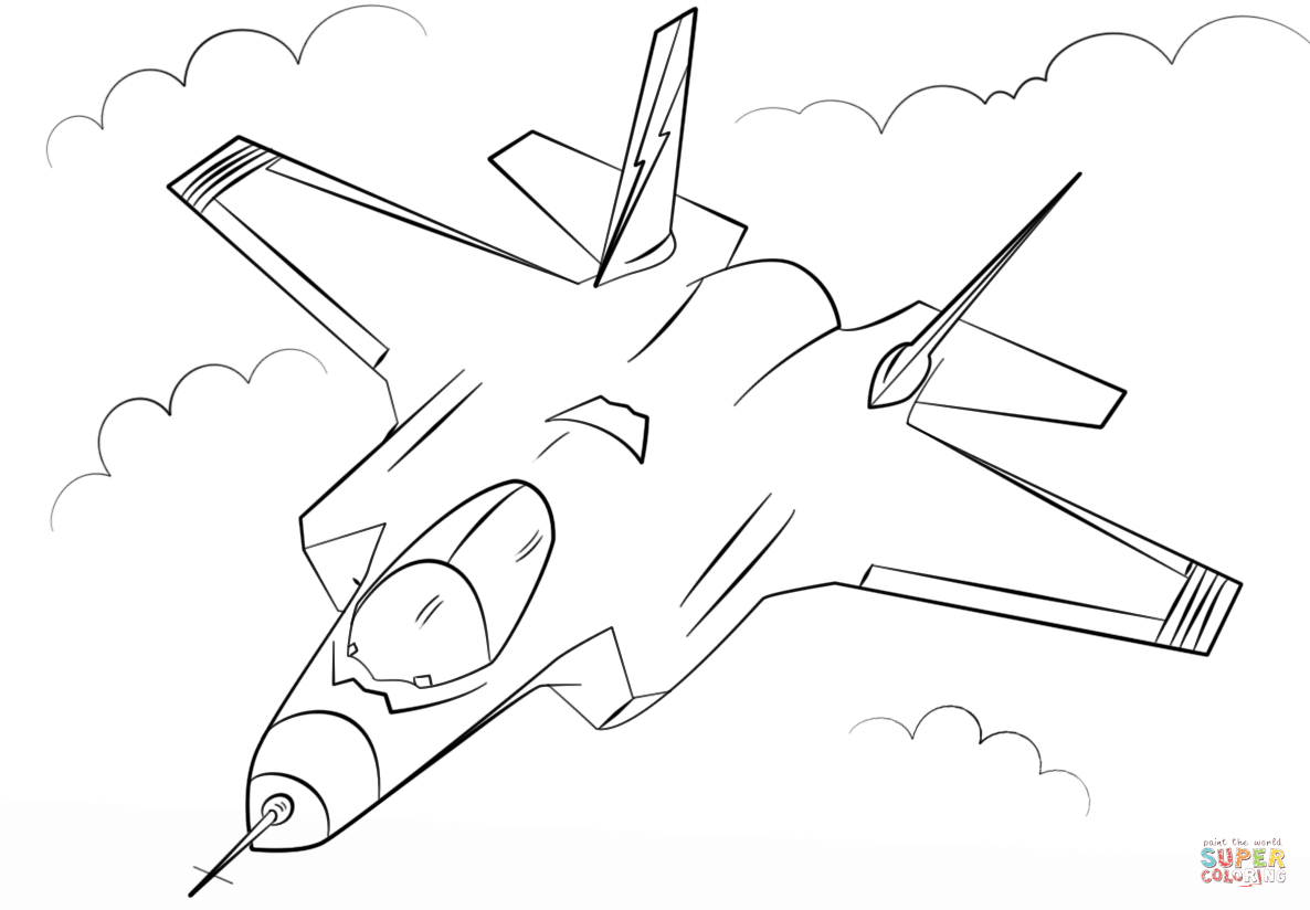Click the stealth multirole fighter f 35 coloring pages