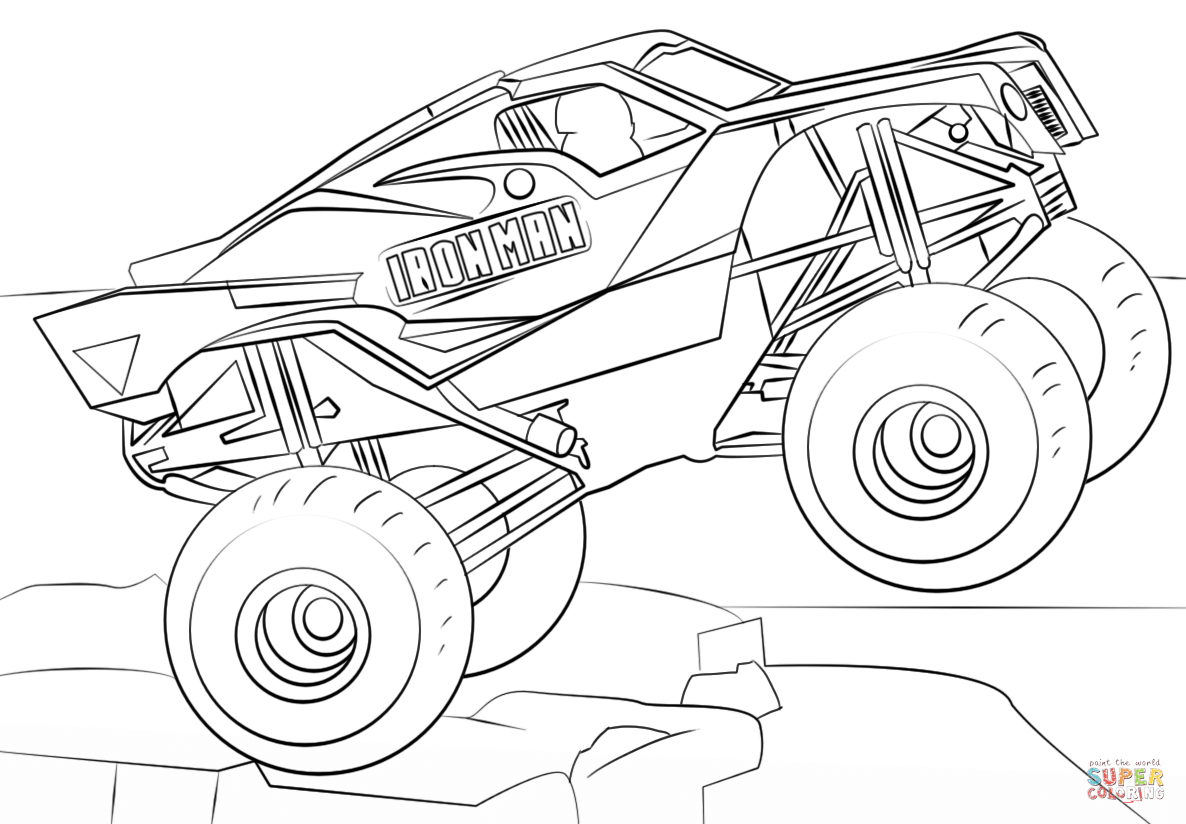 Monster truck coloring pages riptide monster best free for Page color html