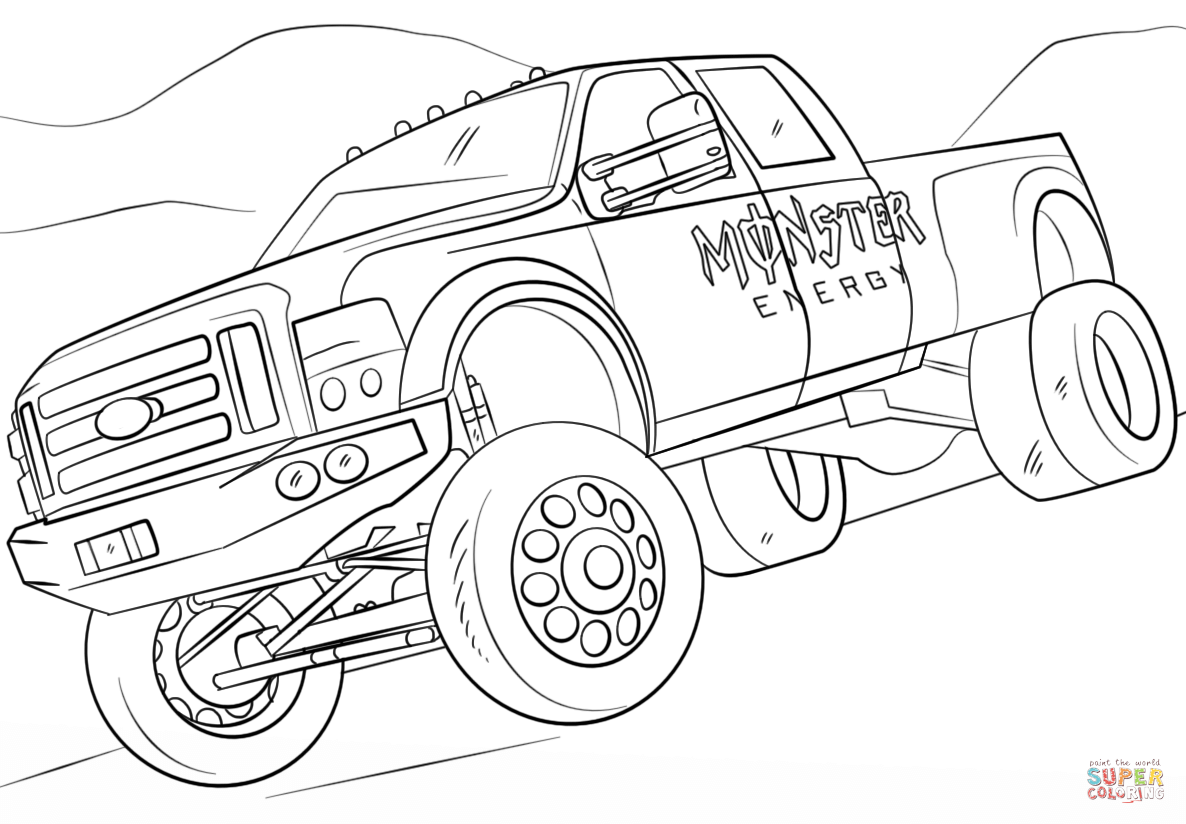 saveenlarge free printable monster truck coloring pages