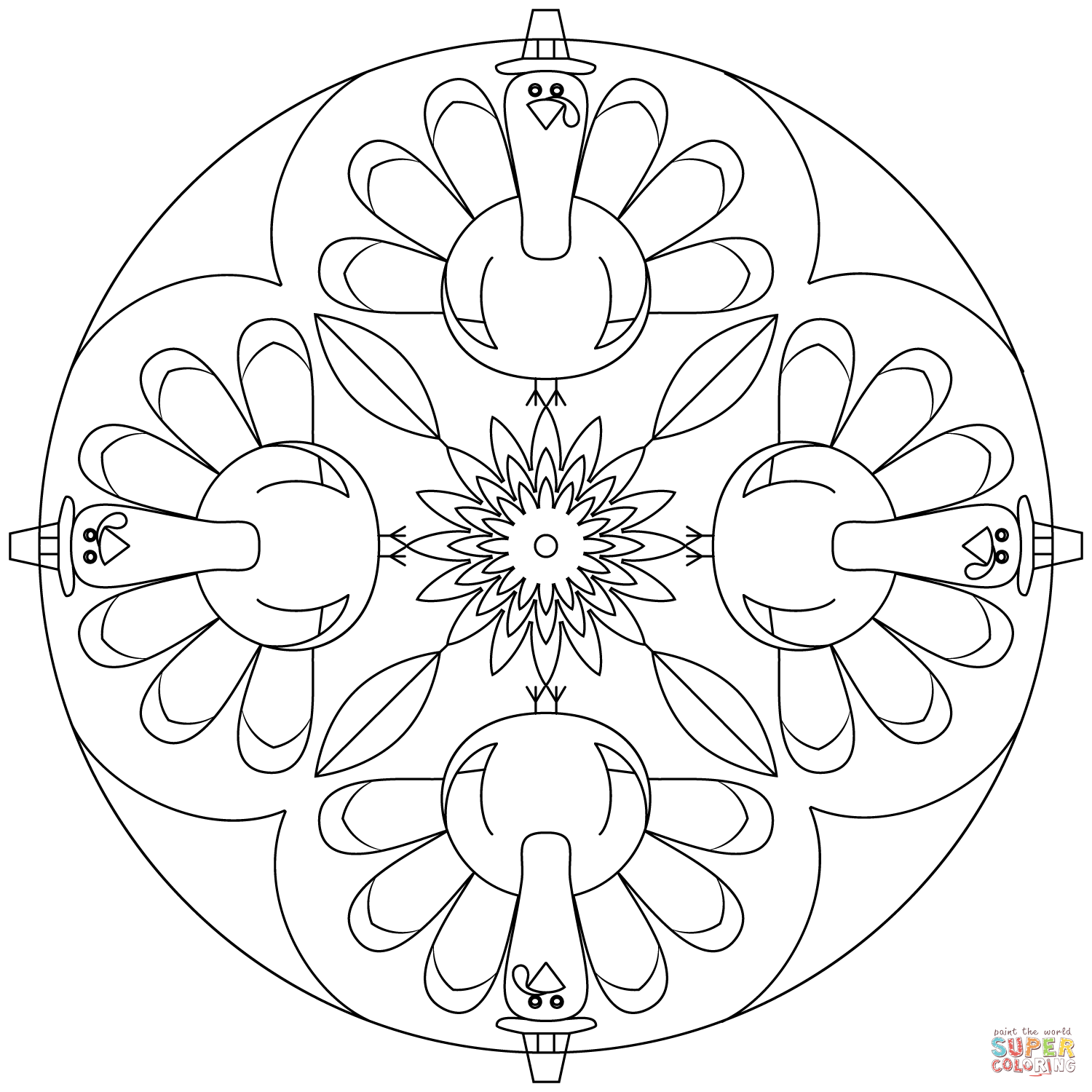 Click the thanksgiving mandala coloring pages to view printable version or color it online compatible with ipad and android tablets