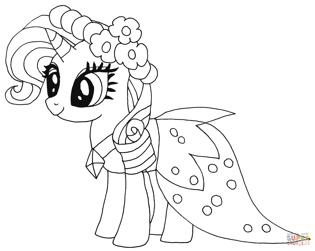 Click the princess rarity coloring pages