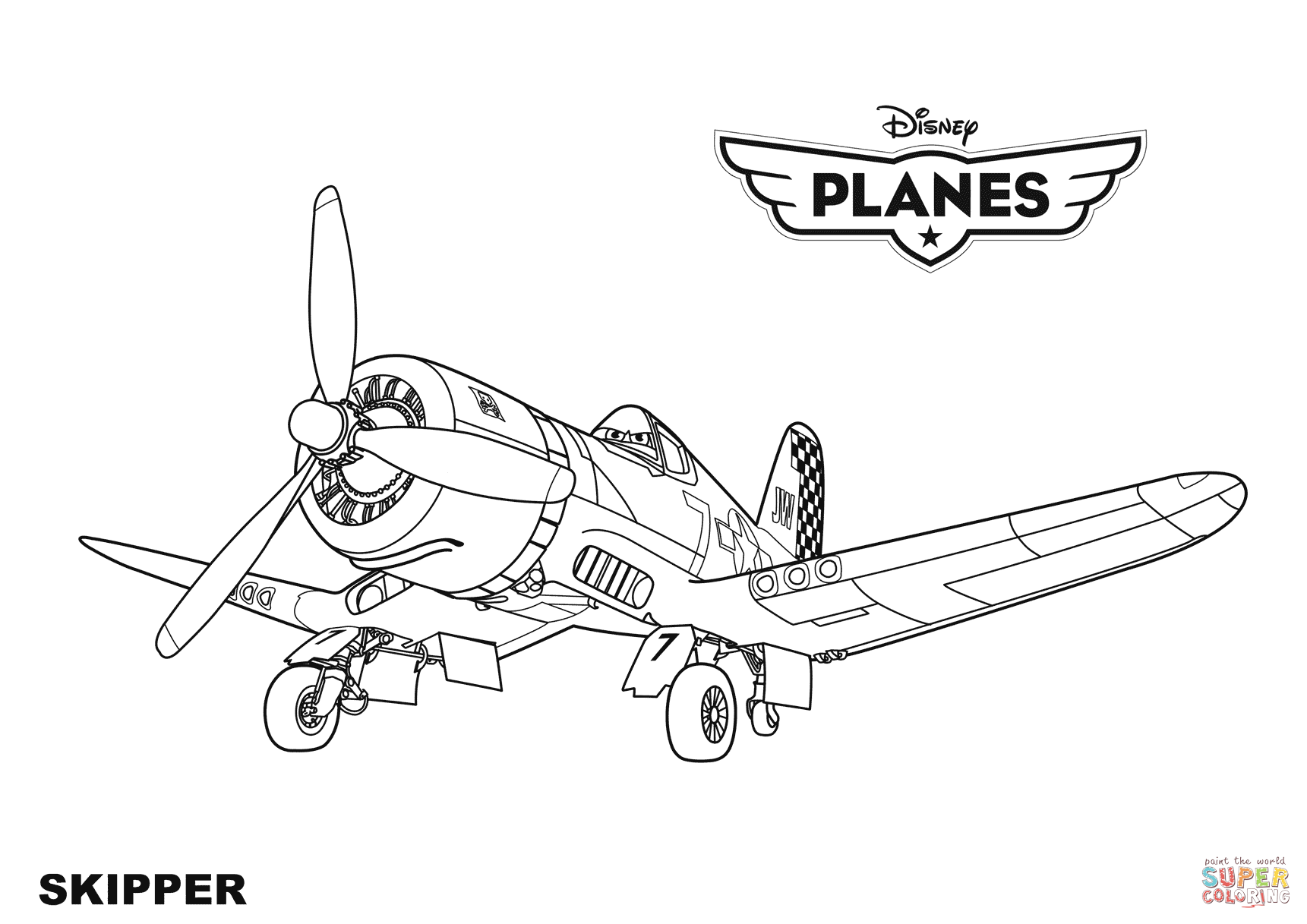 Click the disney planes skipper coloring pages