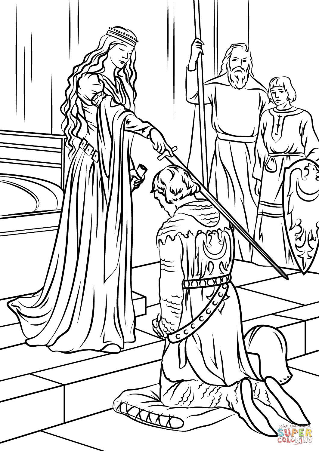 Medieval princess coloring pages free