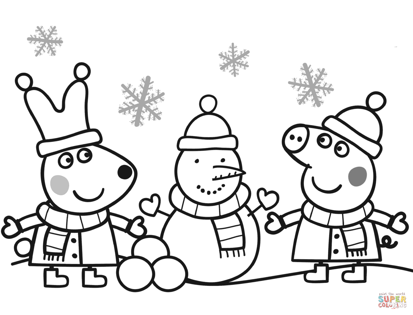 Peppa and rebecca are making snowman