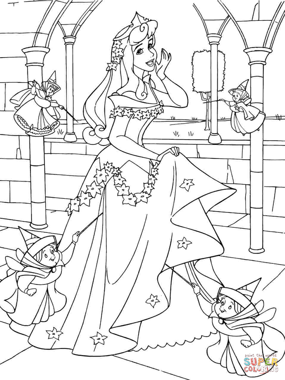 Click the princess aurora with good fairies coloring pages to view printable version or color it online compatible with ipad and android tablets