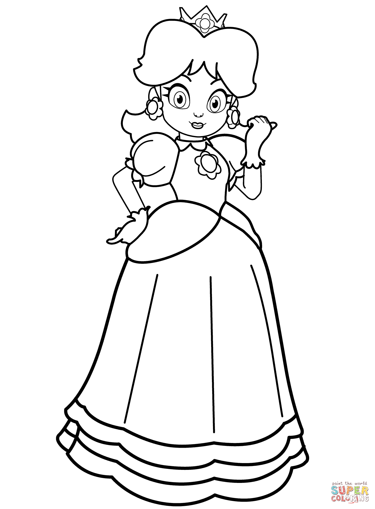 Click the princess daisy coloring pages to view printable version or color it online compatible with ipad and android tablets