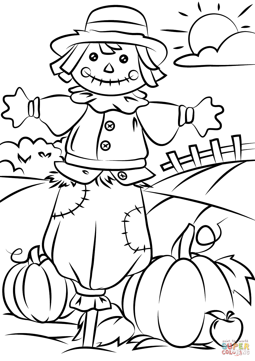 autumn clip art auto electrical wiring diagramautumn scene with scarecrow coloring page