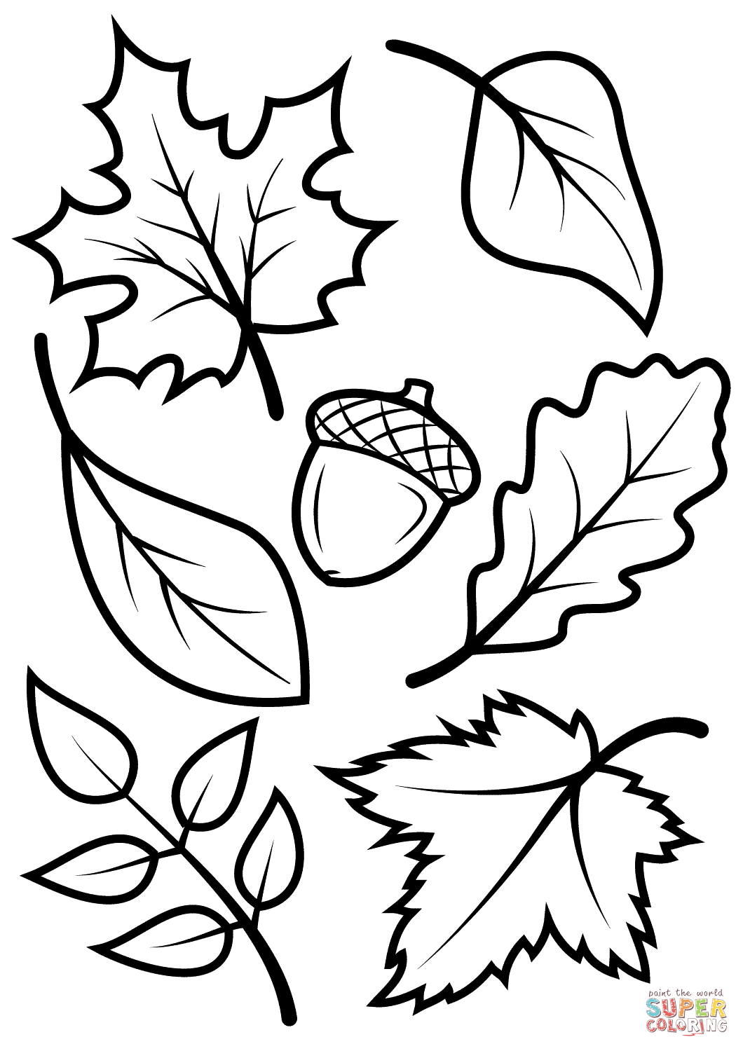 Click the fall leaves and acorn coloring pages