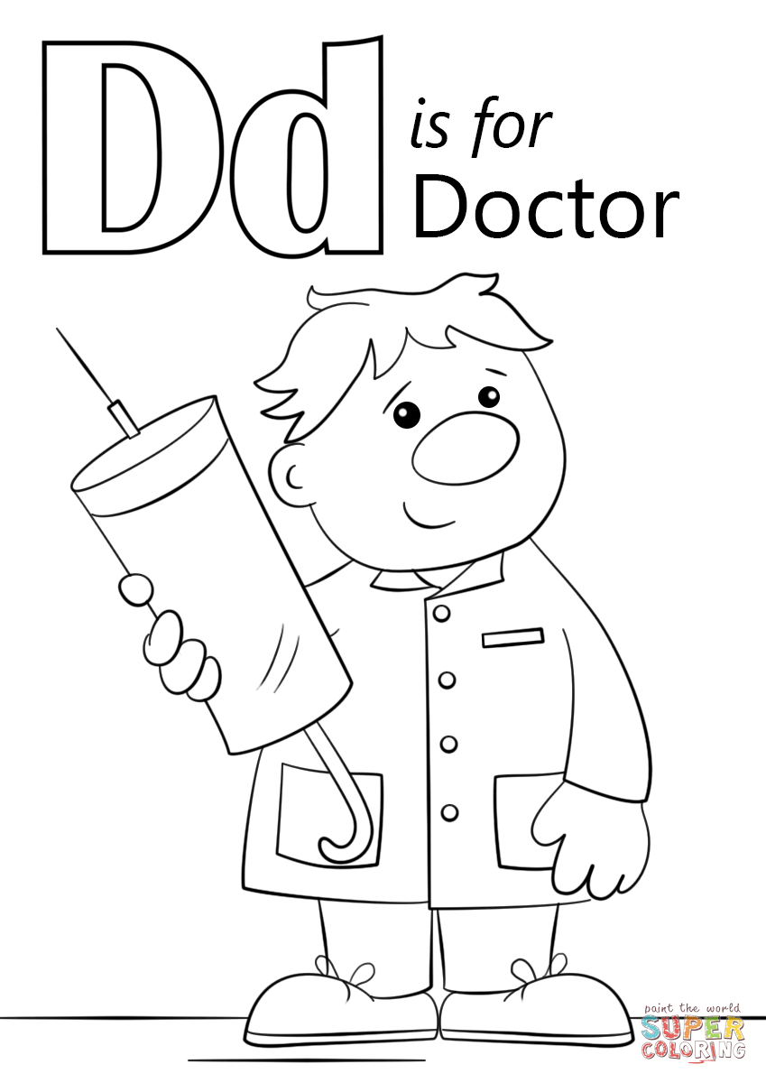 Click the letter d is for doctor coloring pages