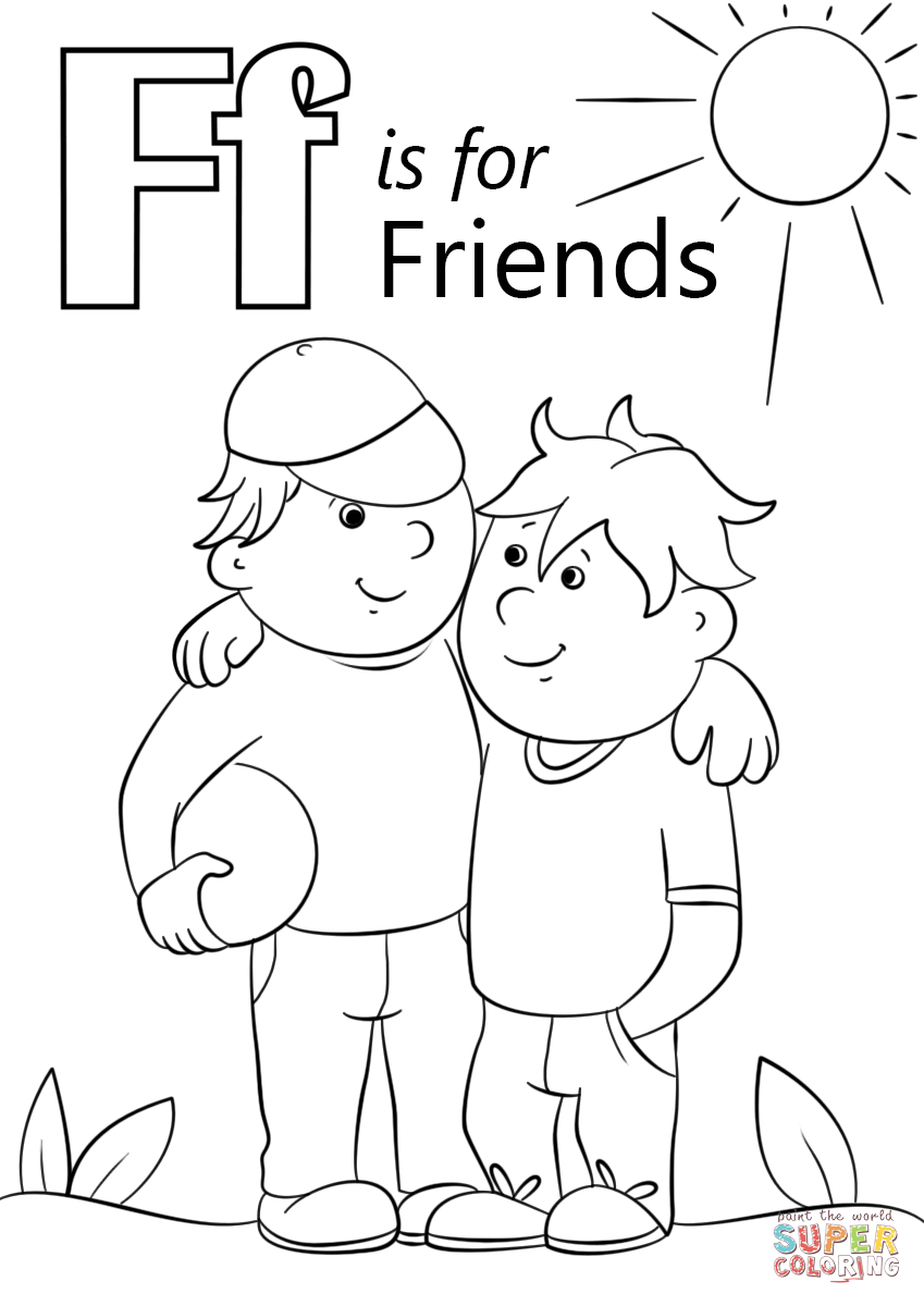 Click the letter f is for friends coloring pages to view printable
