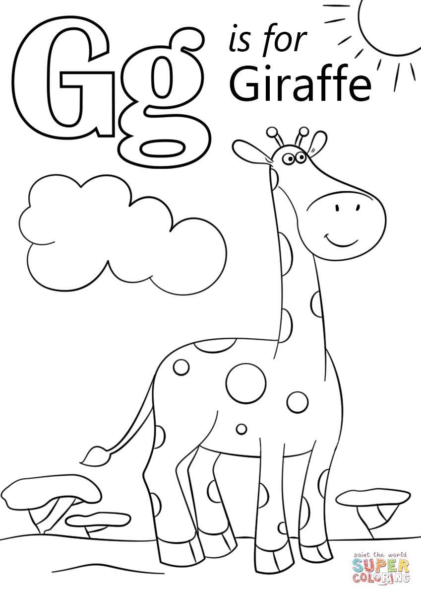 Click the letter g is for giraffe coloring pages