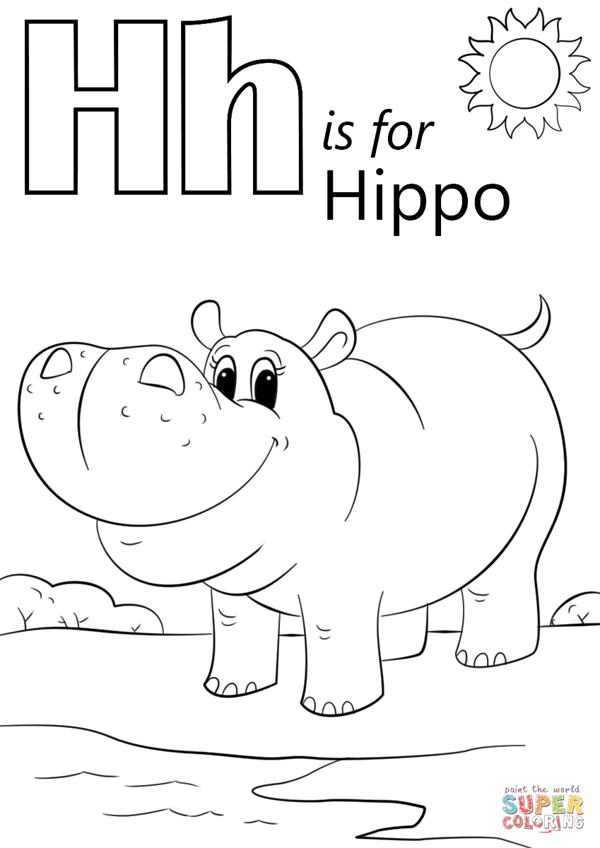h is for hippo coloring pages - photo #5