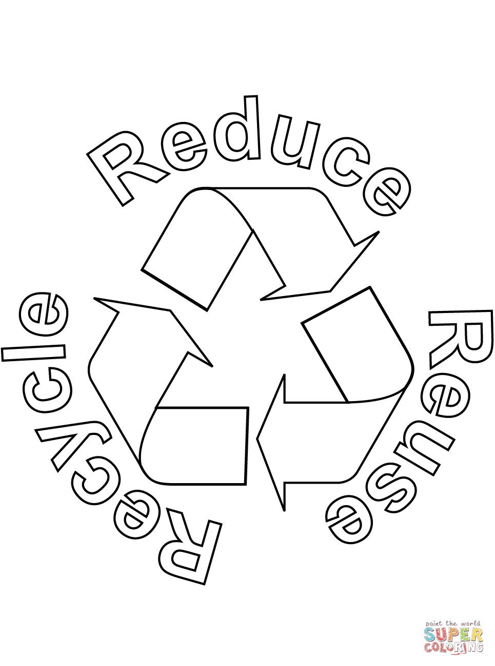 Click the reduce reuse recycle coloring pages to view printable