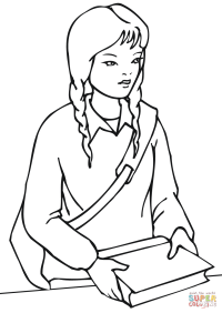 School Girl coloring page | Free Printable Coloring Pages