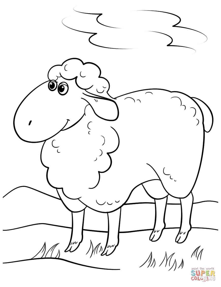 Gallery Of Cartoon Sheep For Kids Coloring Page Hm Pages