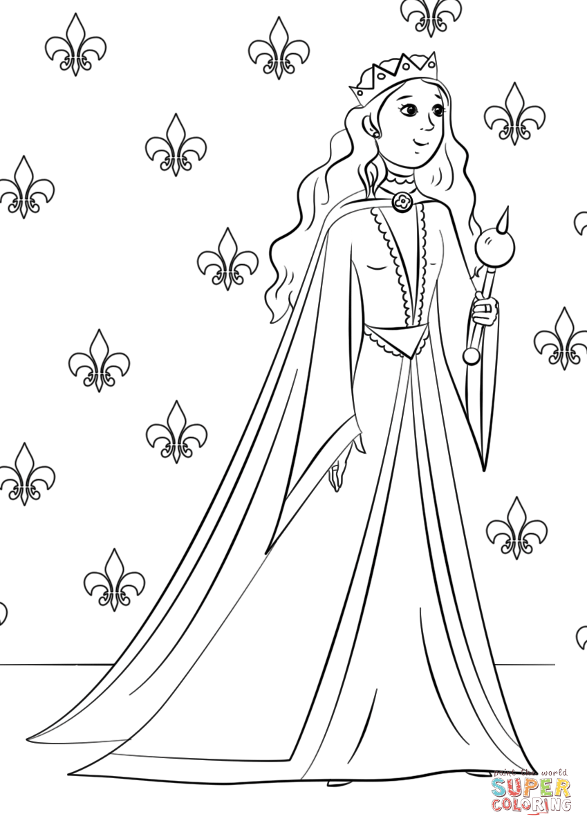 Click the gorgeous queen coloring pages to view printable version or color it online compatible with ipad and android tablets